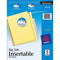 Dividers, 5 Big Tab Insertable Clear Tab
