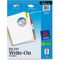 Dividers, 5 Big Tab Multicolor Write On