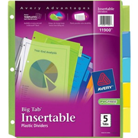 Dividers, 5 Insertable Big Color Tab