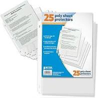 Sheet Protectors 25 Clear Poly